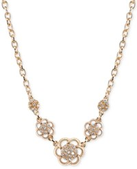 2028 Gold Tone Crystal Flower Collar Necklace