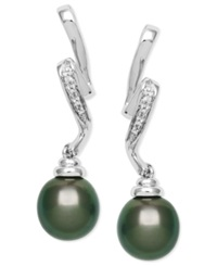 Macy's Cultured Tahitian Pearl 8Mm And Diamond Accent Swirl Earrings In Sterling Silver