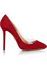 Charlotte Olympia Party Monroe Pvc Trimmed Suede Pumps Red