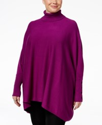 Alfani Plus Size Turtleneck Poncho Sweater Only At Macy's Iris Glow