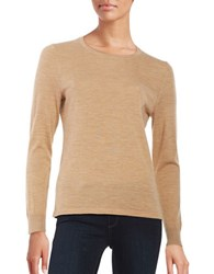 Lord And Taylor Petite Crewneck Merino Wool Sweater Classic Camel Heather