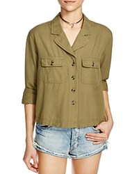 Free People Carolina Button Down Shirt Dark Green
