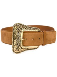Saint Laurent Western Belt Nude And Neutrals