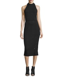 Haute Hippie Sleeveless Buttoned Turtleneck Midi Dress Black