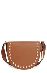 Cesca Studded Faux Leather Saddle Bag Brown