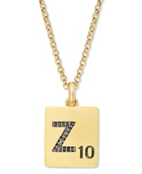 Scrabble 14K Gold Over Sterling Silver Black Diamond Accent 'Z' Initial Pendant Necklace