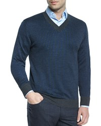 Brioni Houndstooth V Neck Sweater Gray Blue