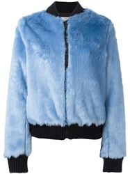 Msgm Furry Bomber Jacket Blue