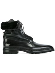 Santoni Lined Lace Up Boots Black