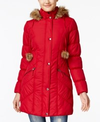 American Rag Faux Fur Trim Puffer Coat Only At Macy's Red