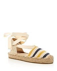 Soludos Striped Gladiator Platform Sandals Mustard