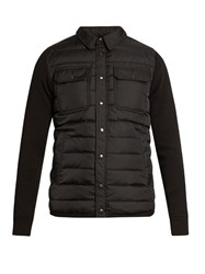 Moncler Quilted Down Long Sleeved Wool Blend Knit Shirt Black