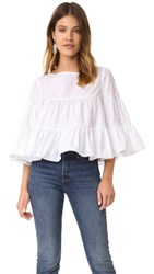 Mds Stripes Tiered Peasant Top White