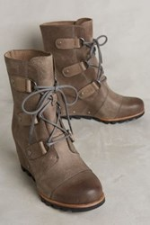 Anthropologie Sorel Joan Of Arctic Wedge Ankle Boots Dark Fog