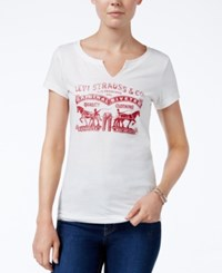 Levi's Split Neck Graphic T Shirt White