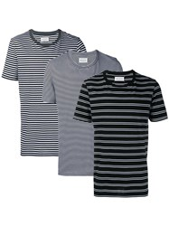 Maison Martin Margiela Three Pack Striped Short Sleeve T Shirts Black White