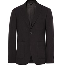 Raf Simons Blue Slim Fit Virgin Wool Blazer Brown
