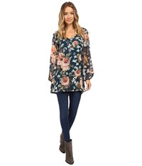 Show Me Your Mumu Donna Michelle Tunic Fall In Love Floral Women's Blouse Black