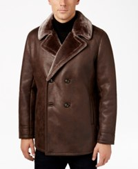 Tasso Elba Men's Double Breasted Coat With Faux Fur Collar And Lining Only At Macy's Brown Combo