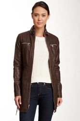 Kenneth Cole Quilted Belted Faux Leather Jacket Brown