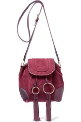 See By Chloe Polly Taseled Leather Trimmed Suede Shoulder Bag Pink