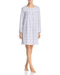 Eileen West Knit Long Sleeve Short Gown White Ground Multi Floral