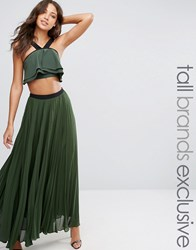 True Decadence Tall Pleated Maxi Skirt With Contrast Waistband Khaki Green