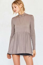 Kimchi And Blue Gumdrop Mock Neck Babydoll Top Taupe