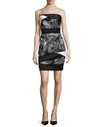 Prabal Gurung Strapless Banded Bustier Dress White Black Paint