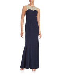 Decode 1.8 Embellished Illusion Gown Navy