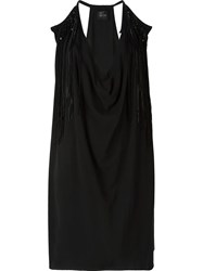 Lost And Found Fringed Detail Draped Dress Black