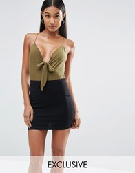 Club L Tie Front Slinky Detailed Bodysuit Olive Green