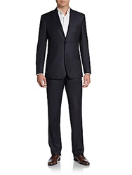 Saks Fifth Avenue Black Regular Fit Navy Nailhead Wool Suit