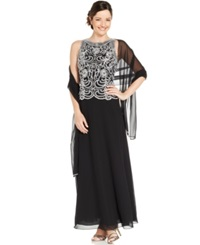 J Kara Sleeveless Beaded Chiffon Gown And Shawl