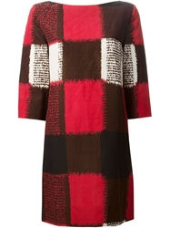 Marni Check Pattern Shift Dress Red