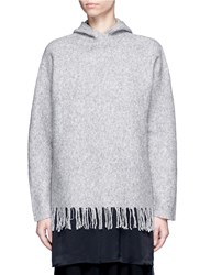 Alexander Wang Fringed Boiled Merino Wool Blend Hoodie Grey