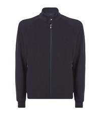 Z Zegna Debossed Logo Zip Up Sweatshirt Male Navy