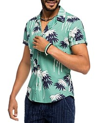 Scotch And Soda Palm Trees Slim Fit Button Down Shirt Mint