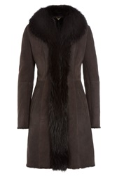 Sly010 Suede Coat With Raccoon Fur Brown
