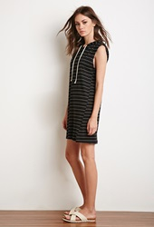 Forever 21 Hooded Stripe Dress Black White