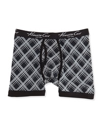 Kenneth Cole Shadowbox Pattern Boxer Briefs Black Gray