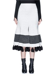 Proenza Schouler Fringe Tassel Knit Flare Skirt White Multi Colour