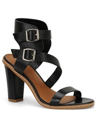Carmen Marc Valvo Carrie Leather Sandal Black