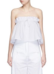 Ellery 'Hot Wax' Pinstripe Cropped Bandeau Top White