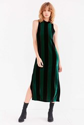 Silence And Noise Madison Striped Velvet Mock Neck Maxi Dress Green Multi