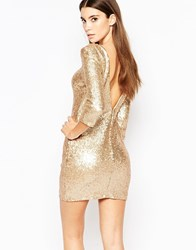 Tfnc Allover Sequin Mini Dress With Deep Back And 3 4 Sleeve Gold