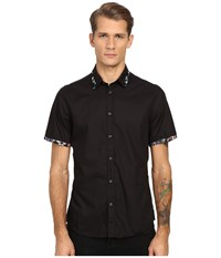 Just Cavalli Short Sleeve Woven Crinkle Effect And Print Trim Black 2