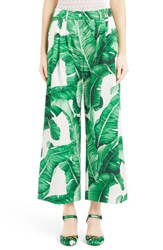 Women's Dolce And Gabbana Banana Leaf Print Cotton Poplin Wide Leg Crop Pants