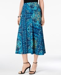 Ny Collection Petite A Line Printed Skirt Aqua Scan
