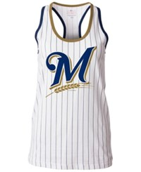 5Th And Ocean Women's Milwaukee Brewers Pinstripe Glitter Tank Top White